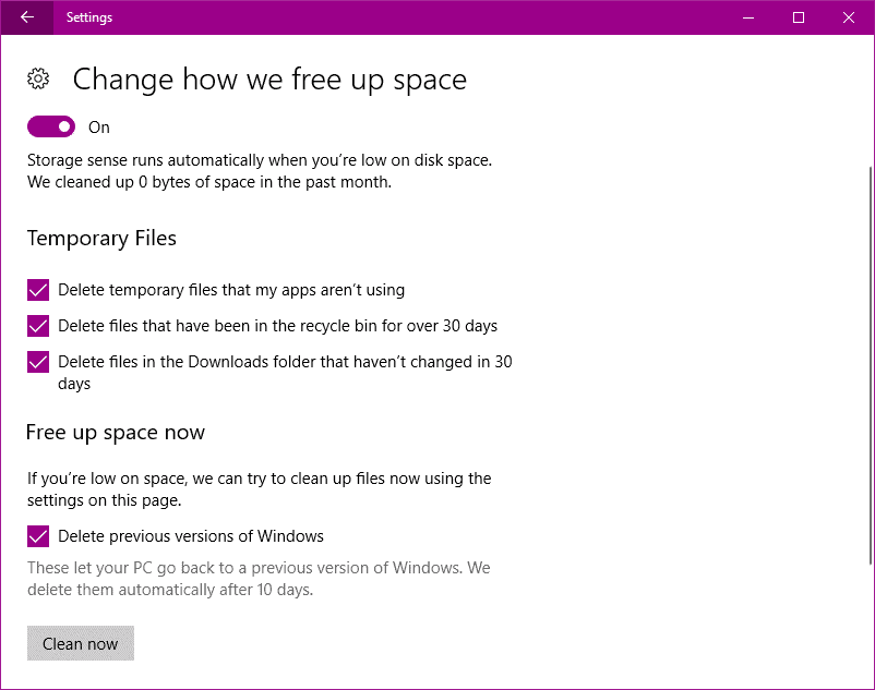 storage sense to Free Up Disk Space