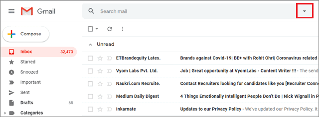gmail filters by clicking on the downward pointer