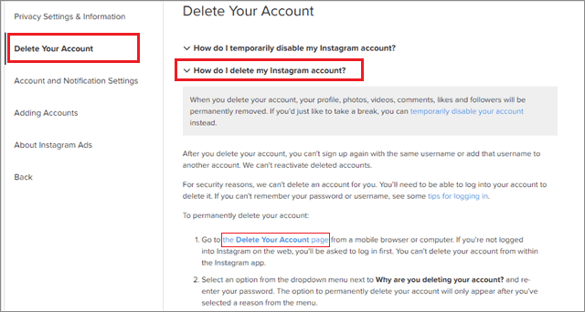 For how to delete instagram account go to delete your account page