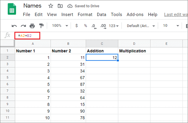 Enter formula in the required cell and press Enter for google sheets fill down