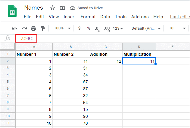 Enter formula in the required cell and press Enter