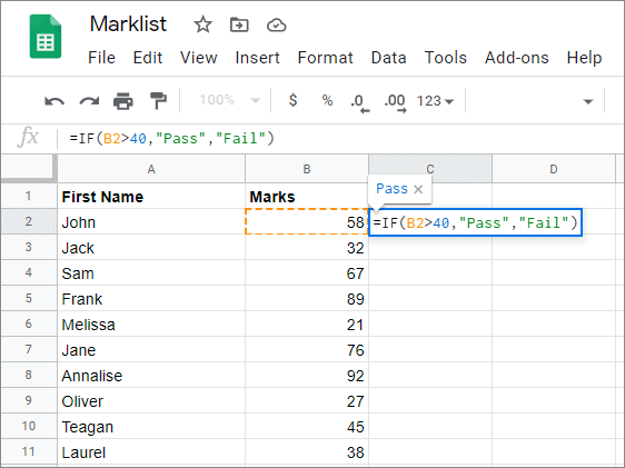 Enter the formula in the selected cell for google sheets fill down