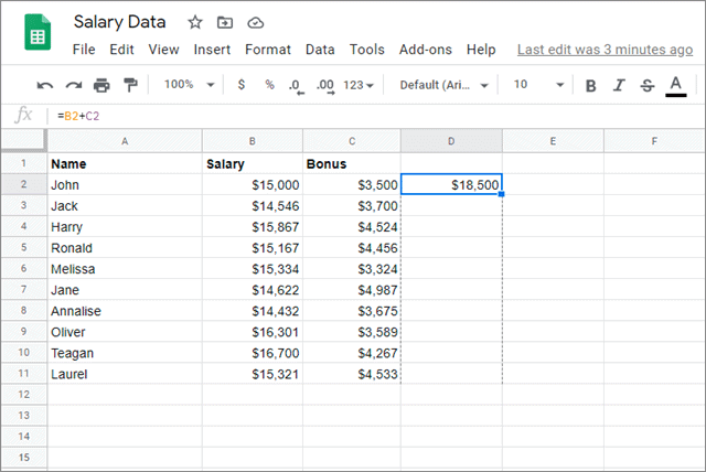 Drag the cursor down to fill the formula in all the required cells for google sheets fill down