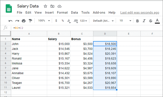Check the results with google sheets fill down
