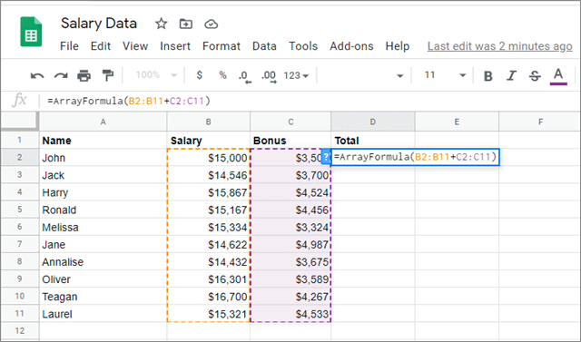 Enter the array formula in the selected cell for google sheets fill down