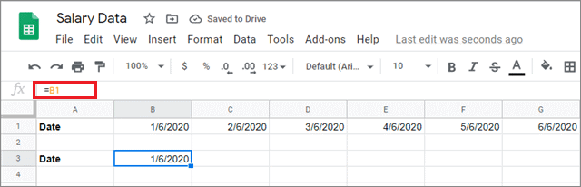 Enter the formula in the select cell in google sheets fill down