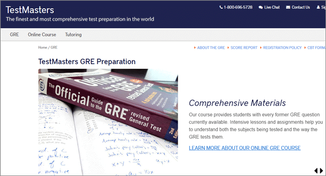 gre online prep from testmasters
