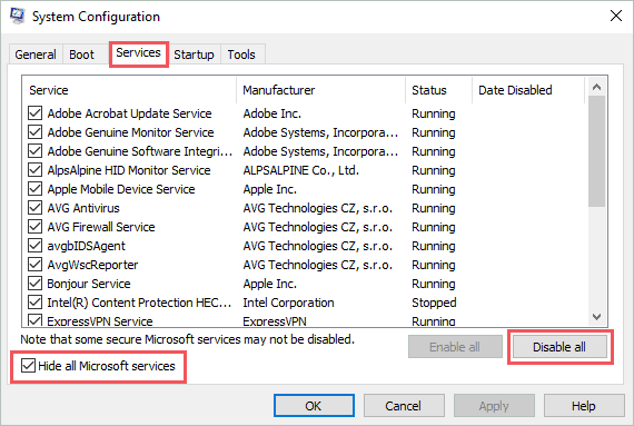 Disable third-party services and applications