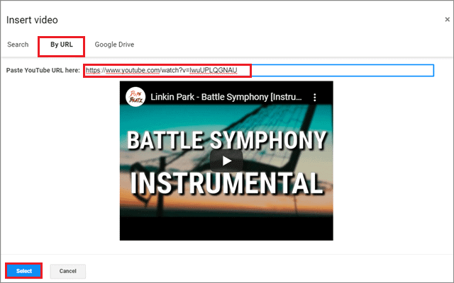 Click select to paste the link and add audio to google slides