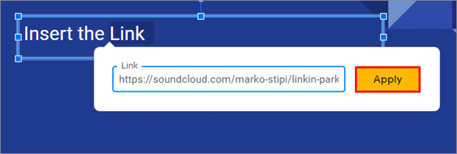 Click on apply to add audio to google slide