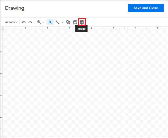 Add an image to the Google Drawing canvas