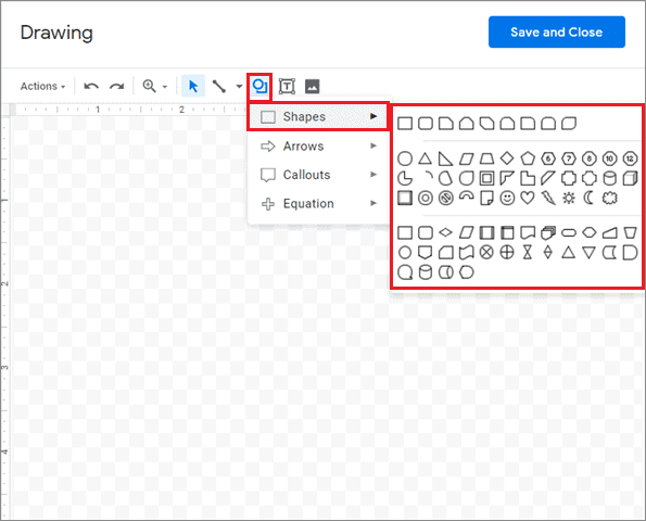 Select a shape to add border in google docs