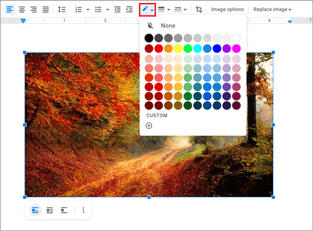 Select the color of the outline by clicking on the Border color option