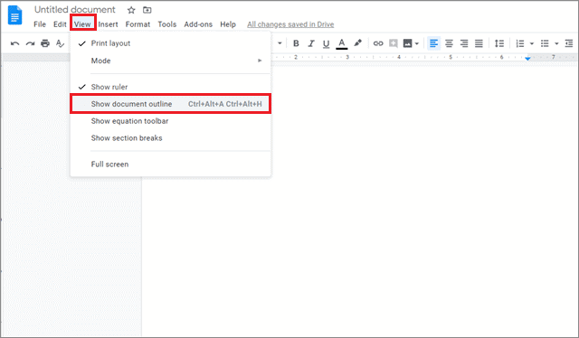 Select document outline for how to add outline in google docs