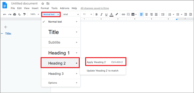 Click on heading on how to add outline in google docs