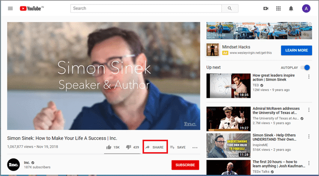 Share the video URL in youtube