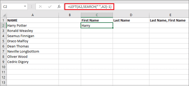 Extract the first name for how to alphabetize in excel