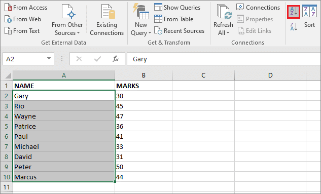 Click on the sorting option on how to alphabetize in excel