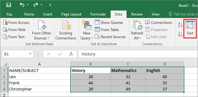 Select the table and the sorting option to how to alphabetize in excel