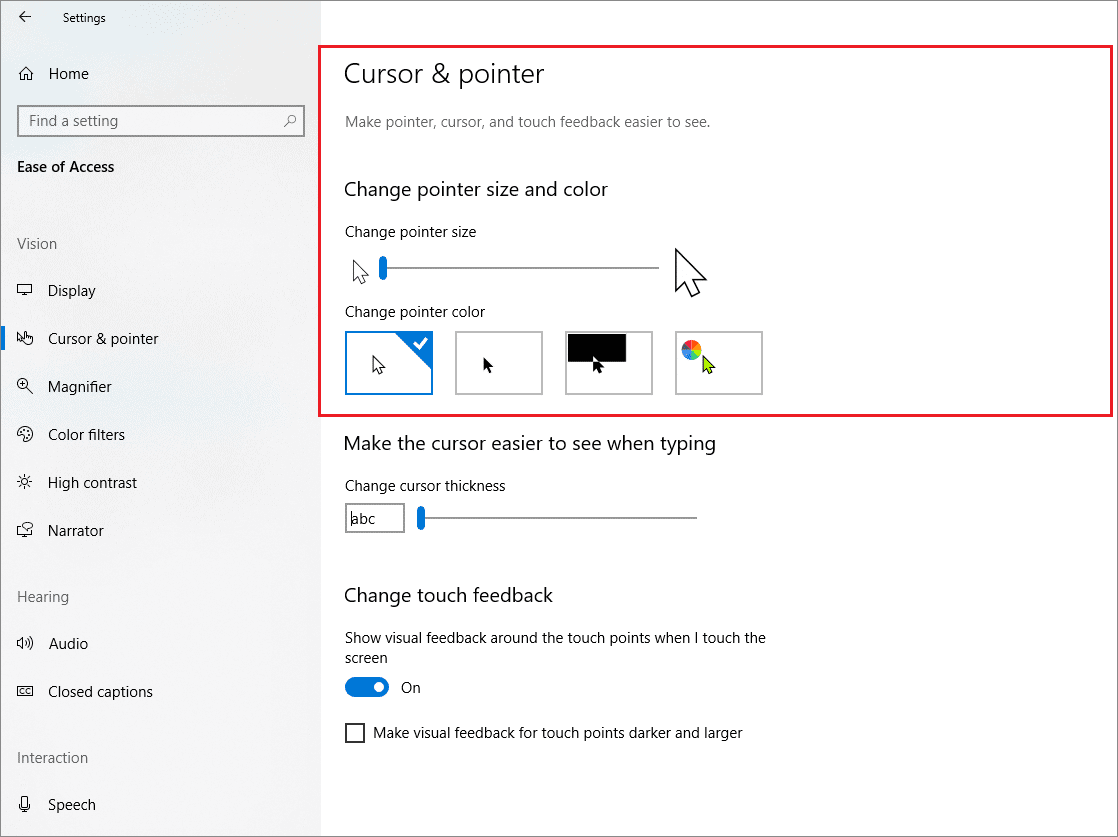 Change the pointer size and color