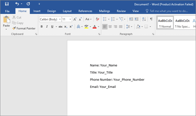 Enter field labels how to create a fillable form in microsoft word