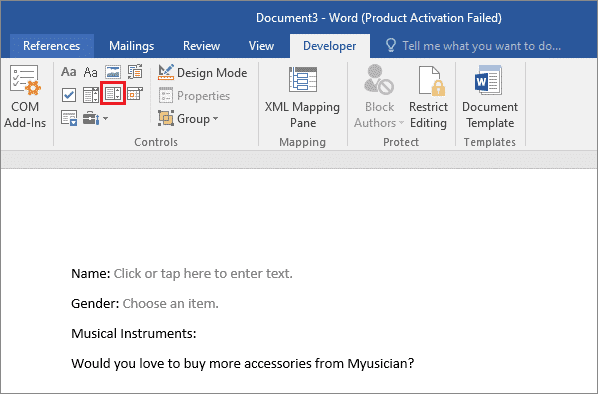 Add drop-down control options for how to create a fillable form in word