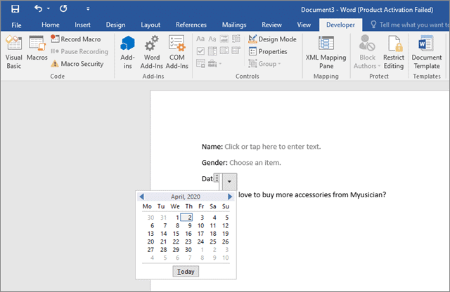 Select the date to create a fillable form in word