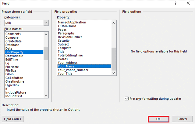 Assign custom fields to create a fillable form in microsoft word