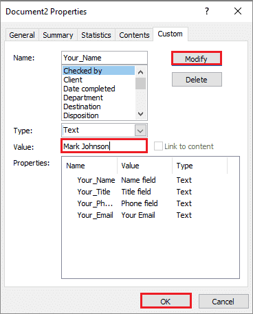 Enter values on how to create a fillable form in word