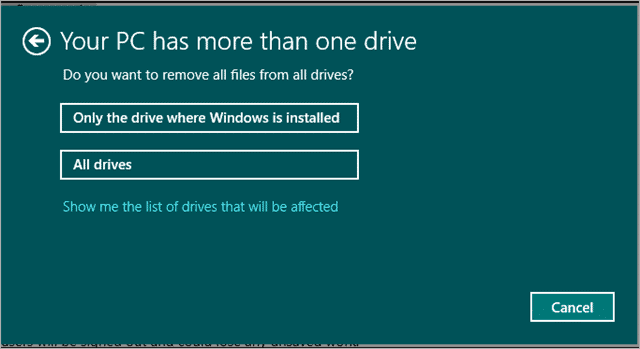 the list of drives that will be affected