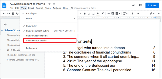 Click on View and select Show section breaks to have different headers in google docs