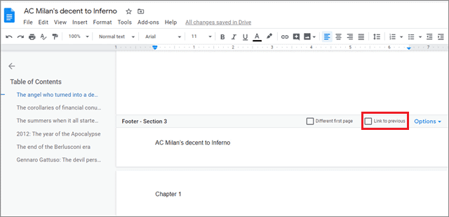 how to have different headers in google docs