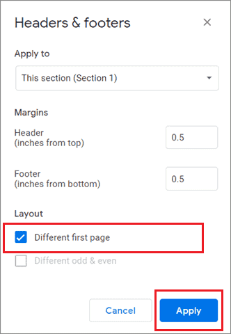 Select Different first page and click on Apply to have different headers in google docs 9