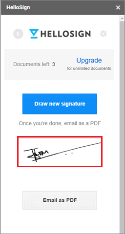 Click and insert signature in google docs