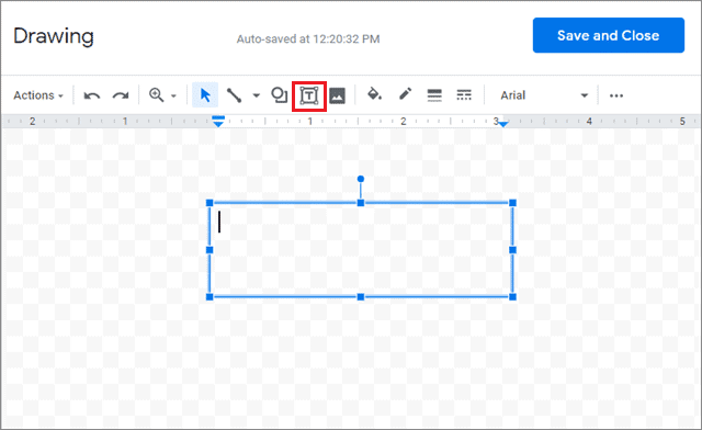 Select the Text option and create a text box