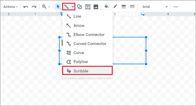 Select the Scribble option from the Lines drop-down menu