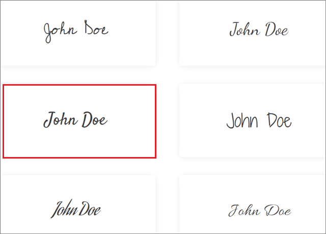 Select the style of signature as per your choice to insert signature in google docs