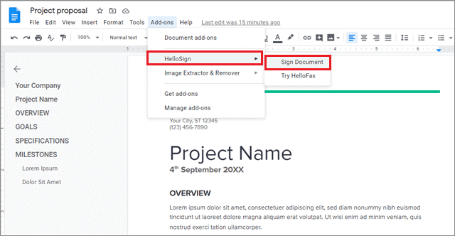 Go to Add-ons, select HelloSign, and click on Sign Document