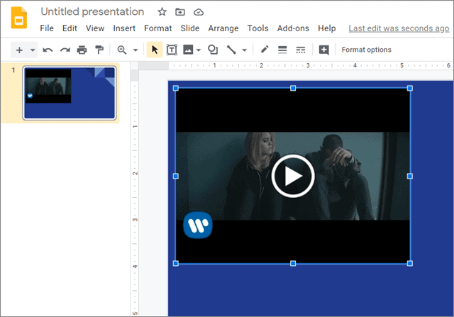 View the video inserted in the Google Slides presentation