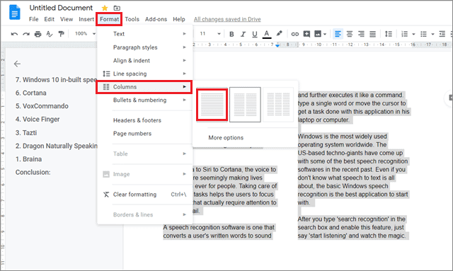 Select column option to make columns in google docs