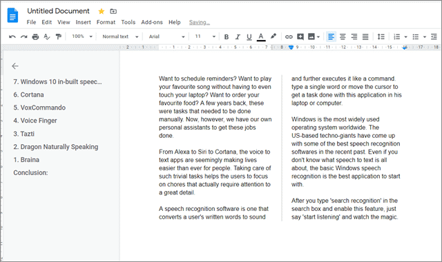 View the line to make columns in google docs
