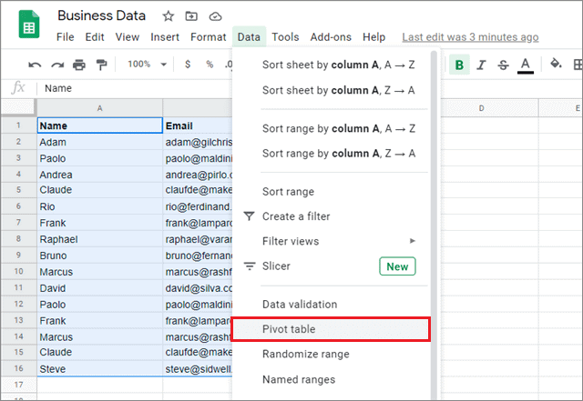 remove duplicates in google sheets with pivot table