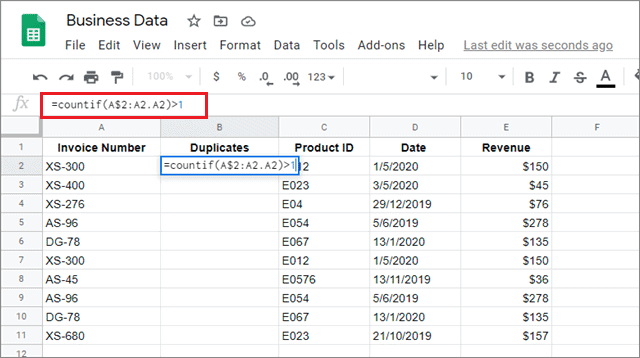Use COUNTIF formula to remove duplicates in google sheets
