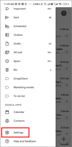 Open Settings from the menu