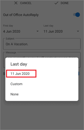 Select the date as per your requirements
