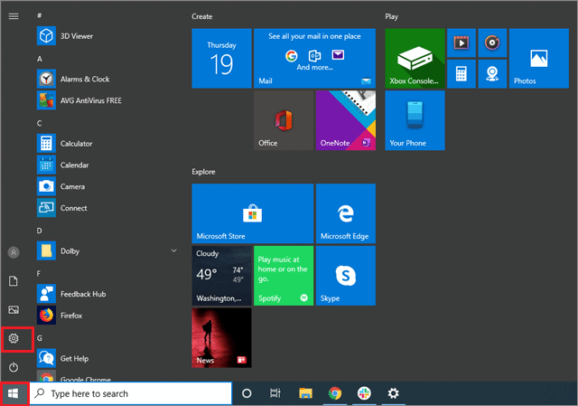 To open the Settings app from Start menu