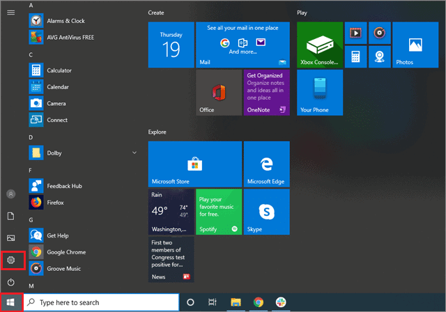 To open the Settings application from the Start menu