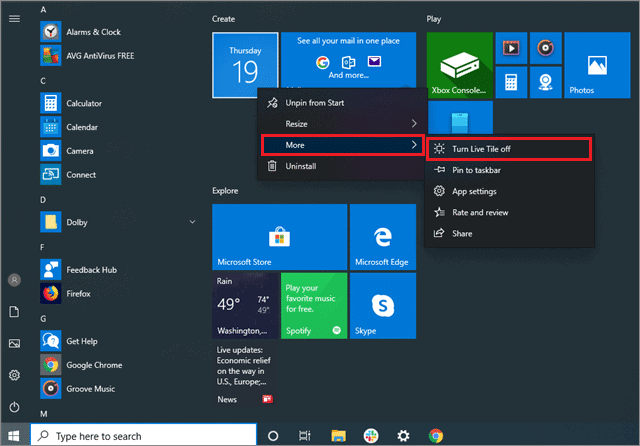 how to turn off notications windows 10 from live app tile