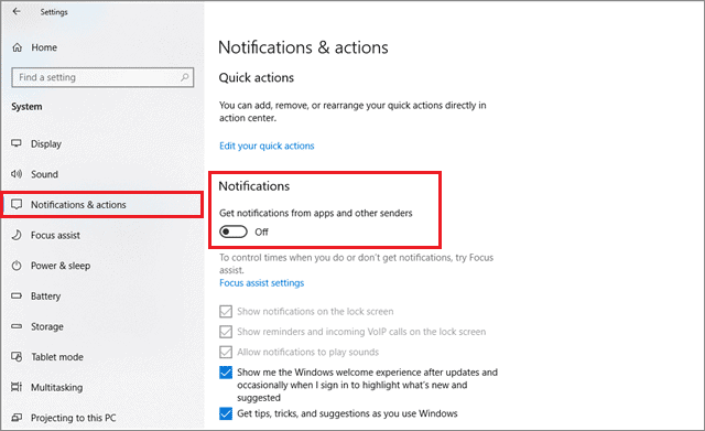how to turn off notifications in windows 10 from the Notifications & actions tab