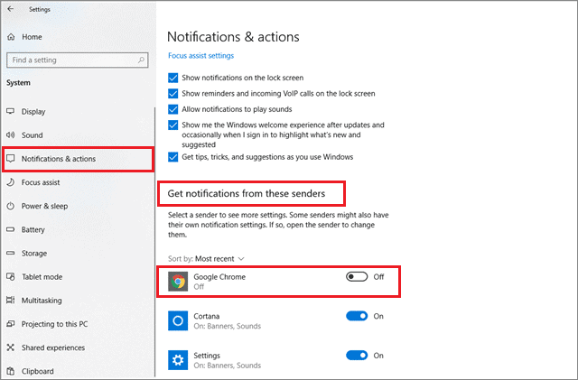 how to turn off notifications windows 10 for Google Chrome